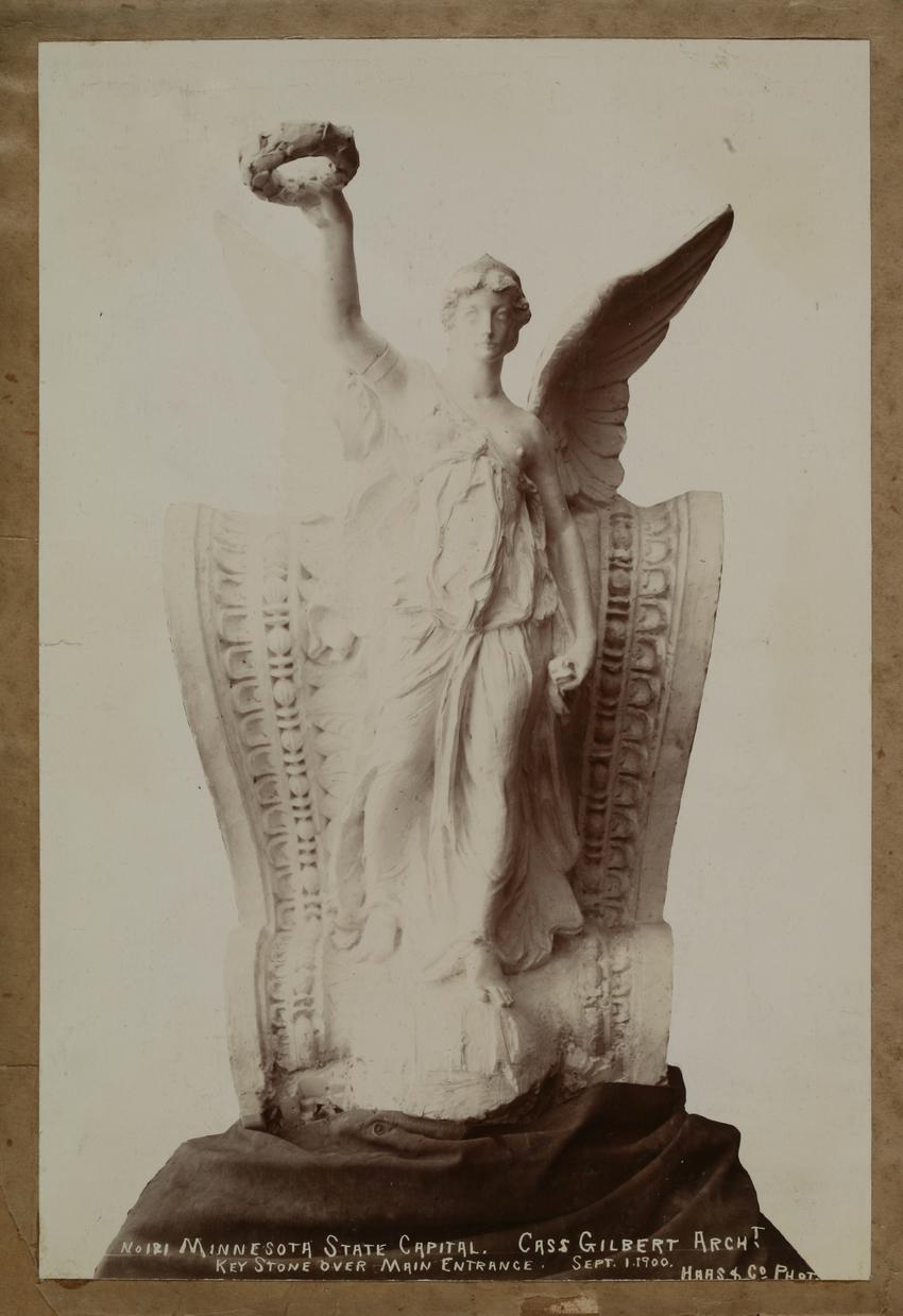 ulpture, keystone over main entrance by ALbert Corwin, 9-1-1900