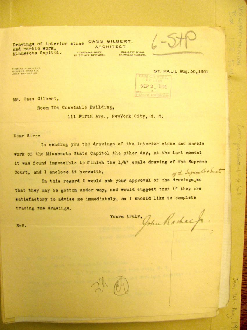 John Rachac, Jr. letter to Cass Gilbert,August 30, 1900