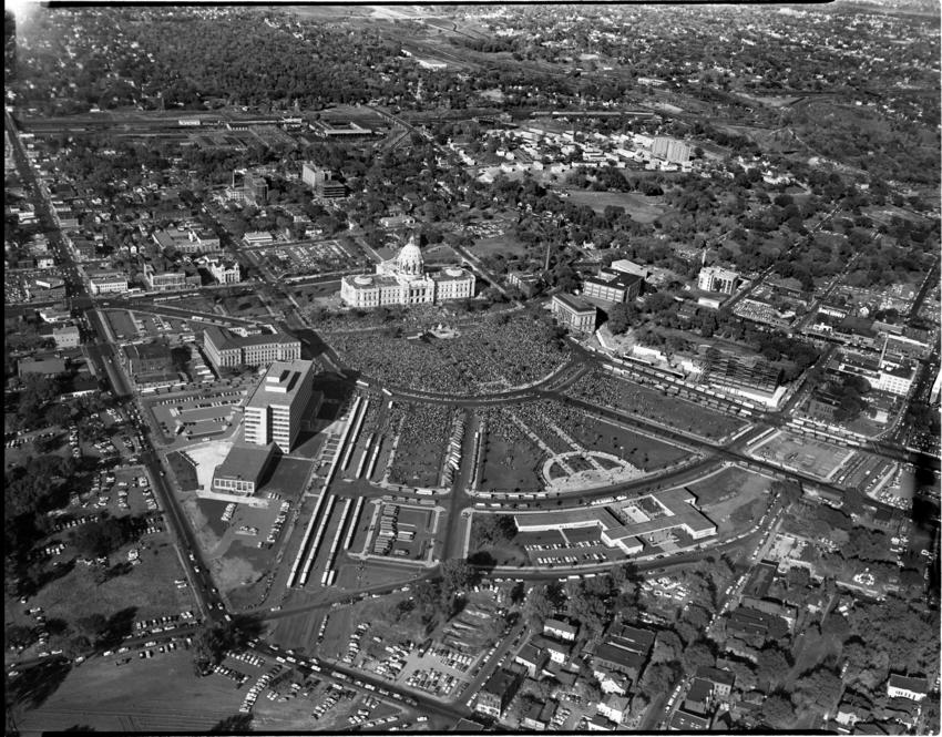 Ariel view of the State Capitol during Rosary Rally