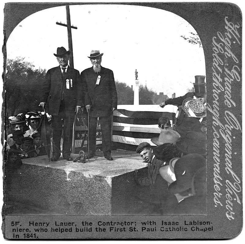 Henry Lauer and Isaac Labisonniere at the cornerstone ceremony for the Saint Paul Cathedral, Saint Paul, Minnesota