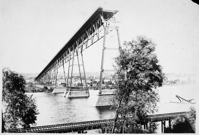 High Bridge partially blown down by the August 1904 storm, Saint Paul, Minnesota