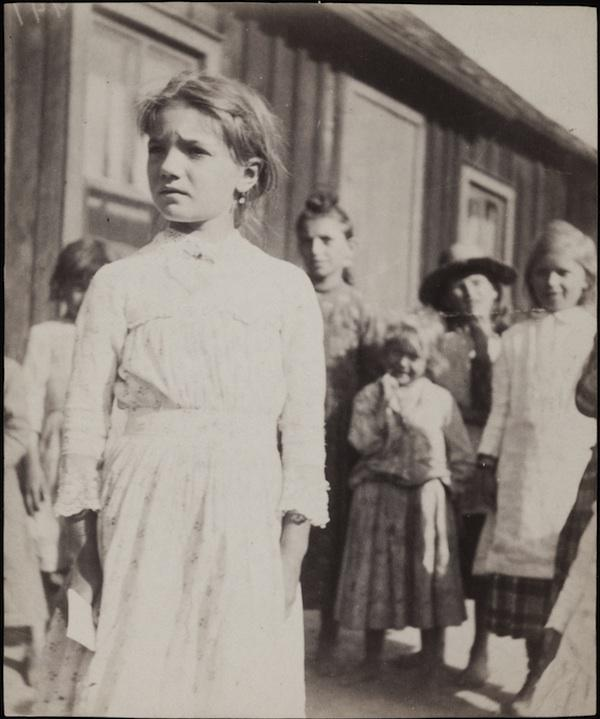 Sophie Shefel with a group of Children in Bohemian Flats, Saint Paul, Minnesota