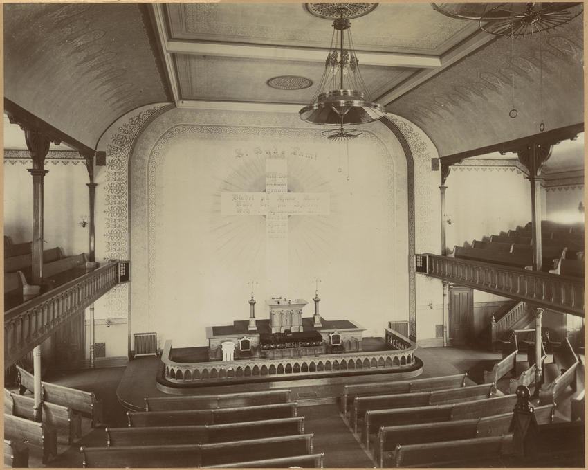 First Swedish Evangelical Lutheran Church, interior, circa 1890