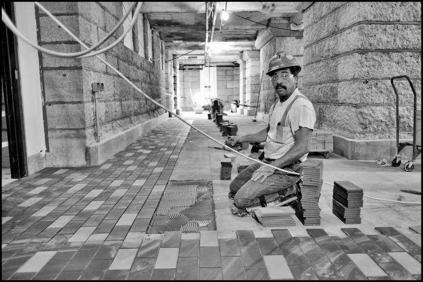 Floor tile worker, Minnesota Capitol restoration