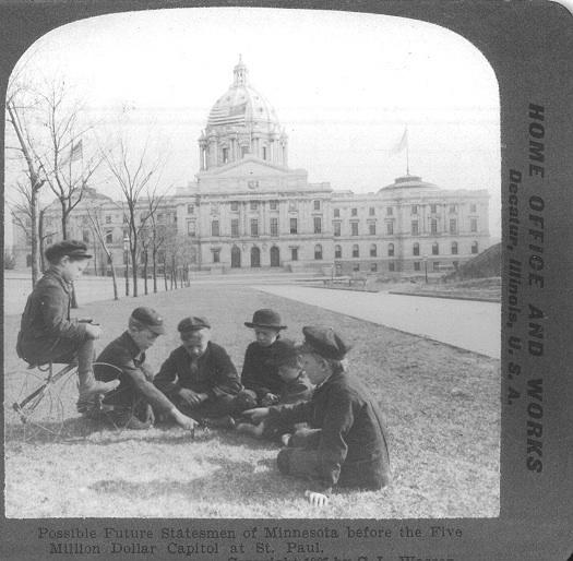 Children by newly built Capitol, ca 1905