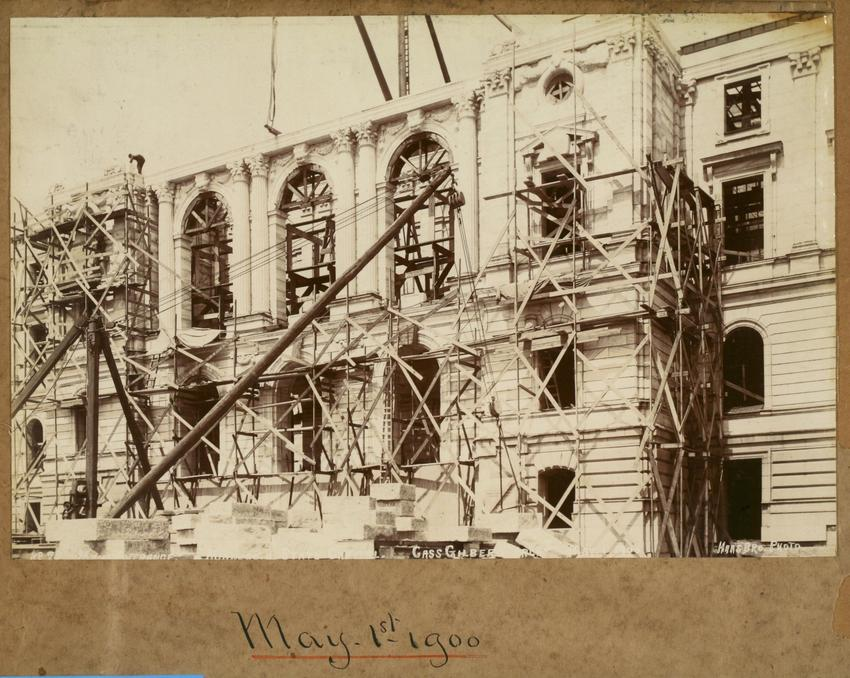 Minnesota State Capitol, Scaffolding over Main Entrance, May 1, 1900