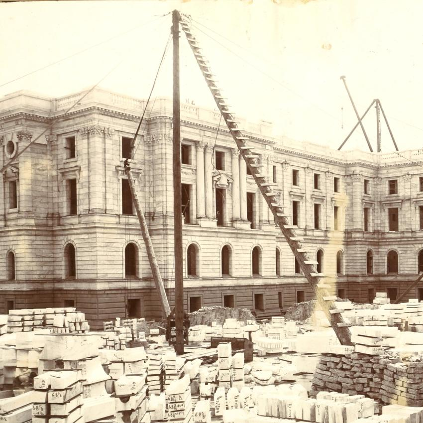 Minnesota State Capitol, NW View, Ladders and Hoists, July 1, 1900