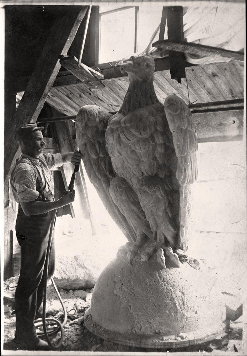 Minnesota State Capitol, Stone Shed, Stone Carving, Eagle Statue, n.d