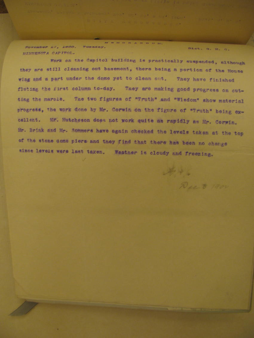 Letter to C. Gilbert on Corwin's statue carving, 1900