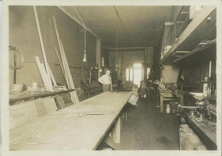 Otto Manke in his shop