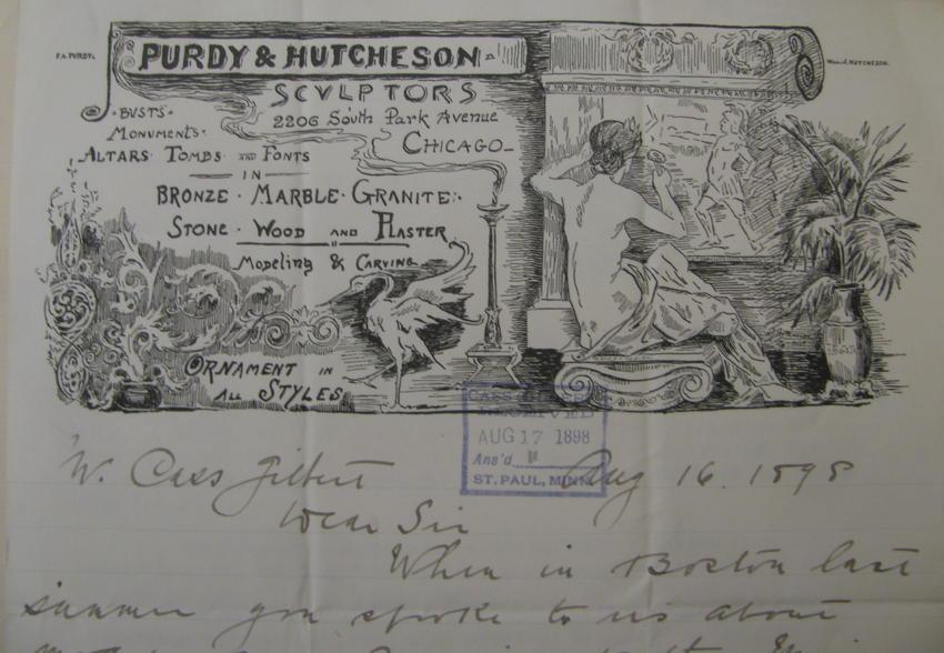Purdy & Hutcheson, Sculptors letterhead