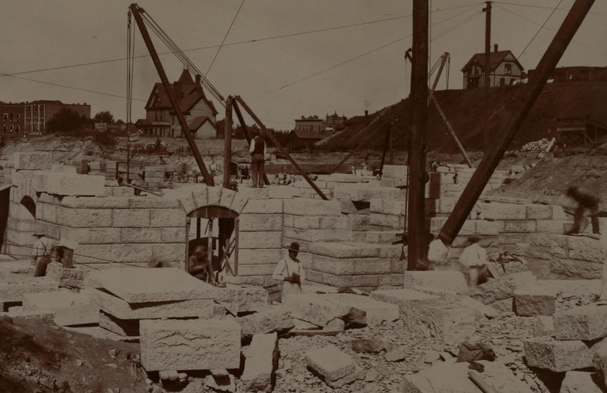 Stone workers, southeast corner Capitol foundation, August 1, 1896