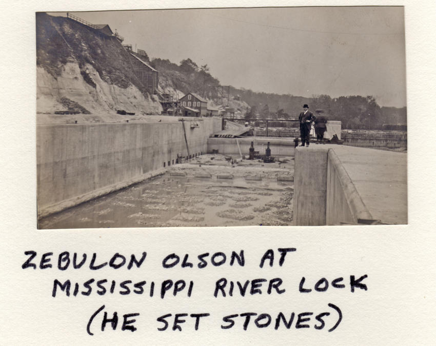 Olson at Mississippi River lock where he set stones