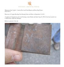 Copper Cleat with Otto Manke's name and date
